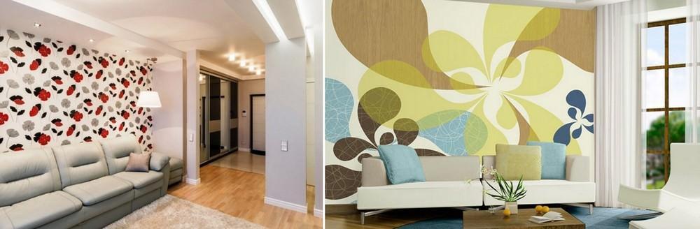 Выбирать обои для акцентной стены нужно контрастные, яркие, предпочтительнее с узорами или фотообои. При этом все остальные стены оклеиваются максимально нейтральным, однотонным цветом