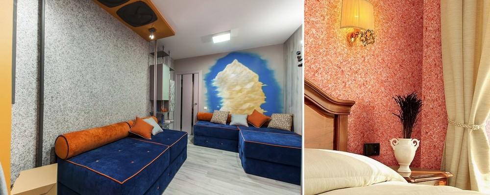 Жидкие обои, благодаря универсальности, легкости нанесения, богатой цветовой гамме и возможностью создать в квартире на стенах настоящие шедевры подходят для любого вида интерьера, будь то классика, хай-тек, модерн