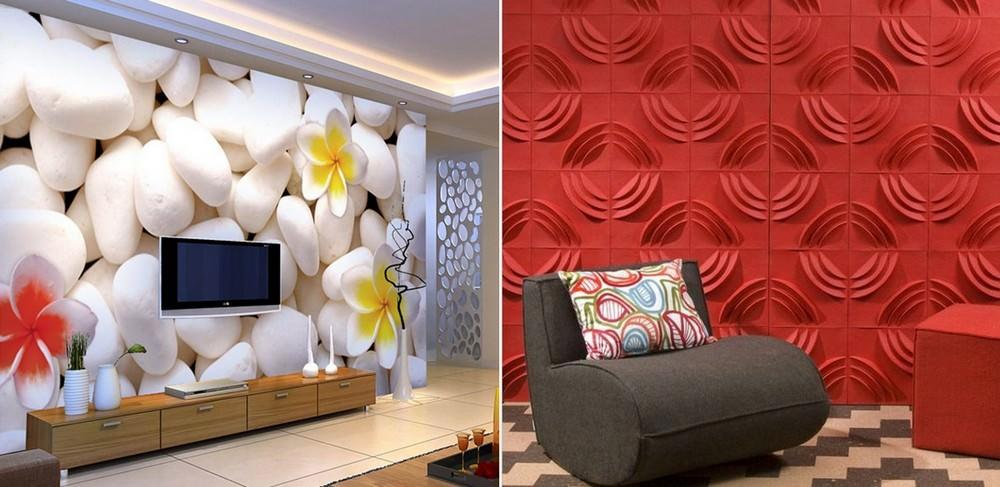 Подбор объемных обоев требует правильного сочетания не только с оформлением остальных стен, но и общей обстановкой комнаты
