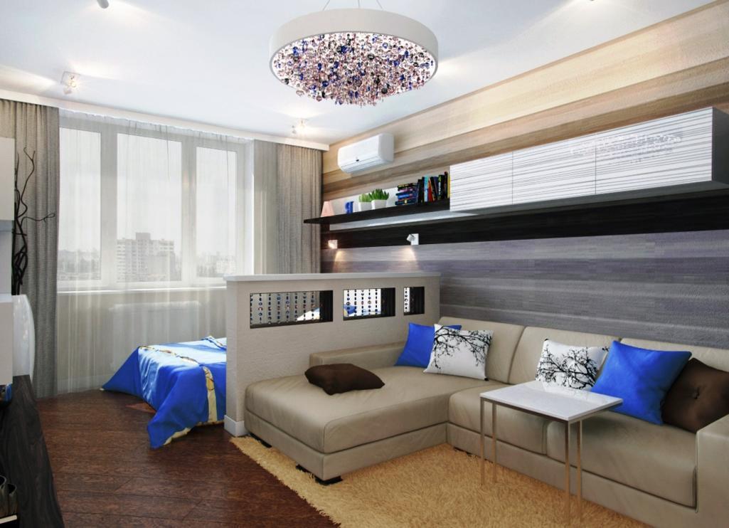 Для того чтобы разграничить пространство в гостиной-спальне, можно использовать красивую гипсокартонную перегородку