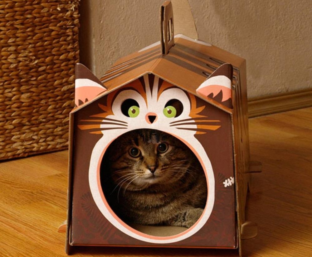 Домик из картона может стать уютным местом для кошки