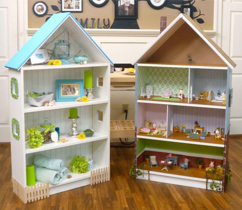 Достаточно быстро и легко можно смастерить кукольный домик, используя книжные полки