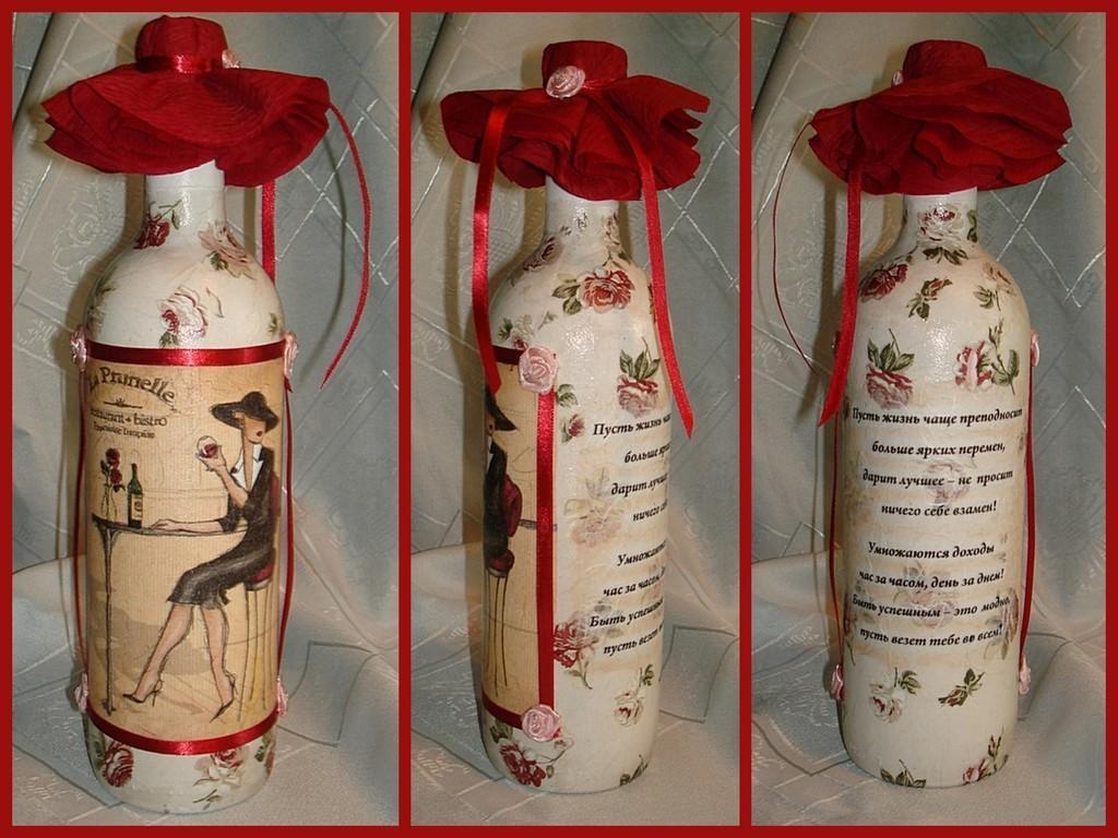 Декупаж бутылок из-под вина станет отличным украшением интерьера в любом помещении