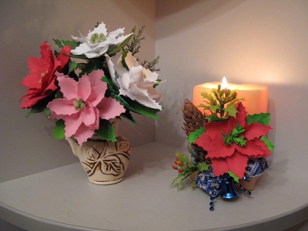 Рождественский цветок из фоамирана выглядит очень натурально и естественно