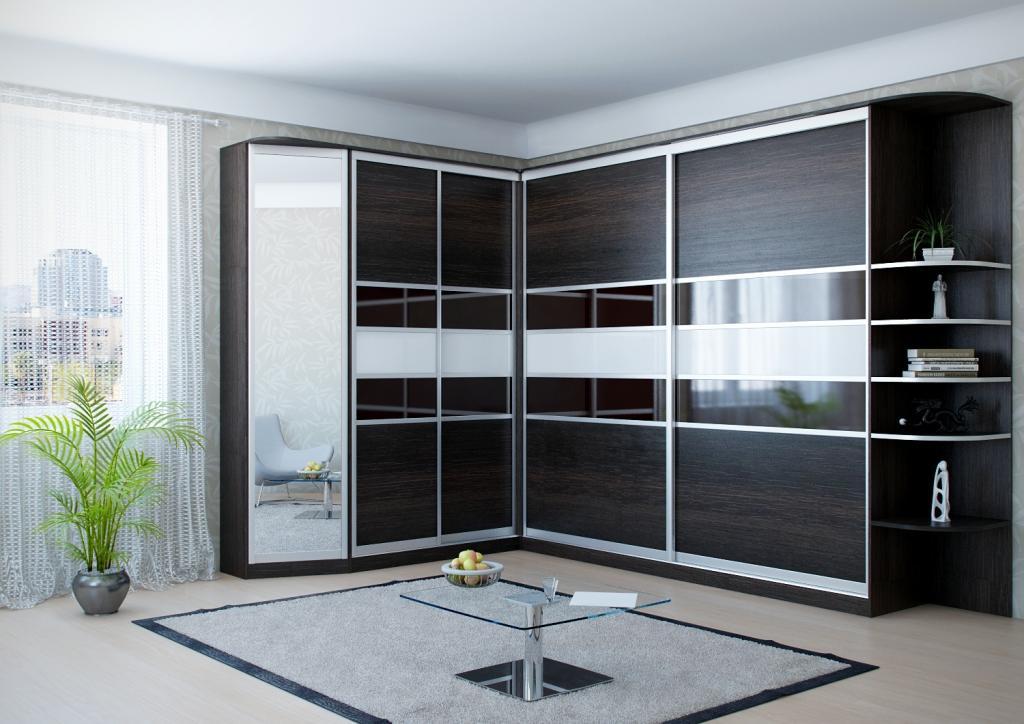 Наиболее популярными являются Г-образные шкафы, потому что они вместительные и практичные
