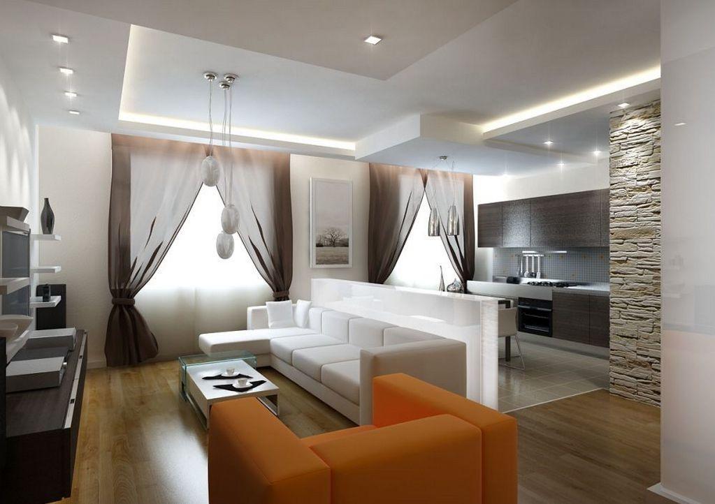 Наиболее часто совмещенную кухню с гостиной можно увидеть в малогабаритных квартирах