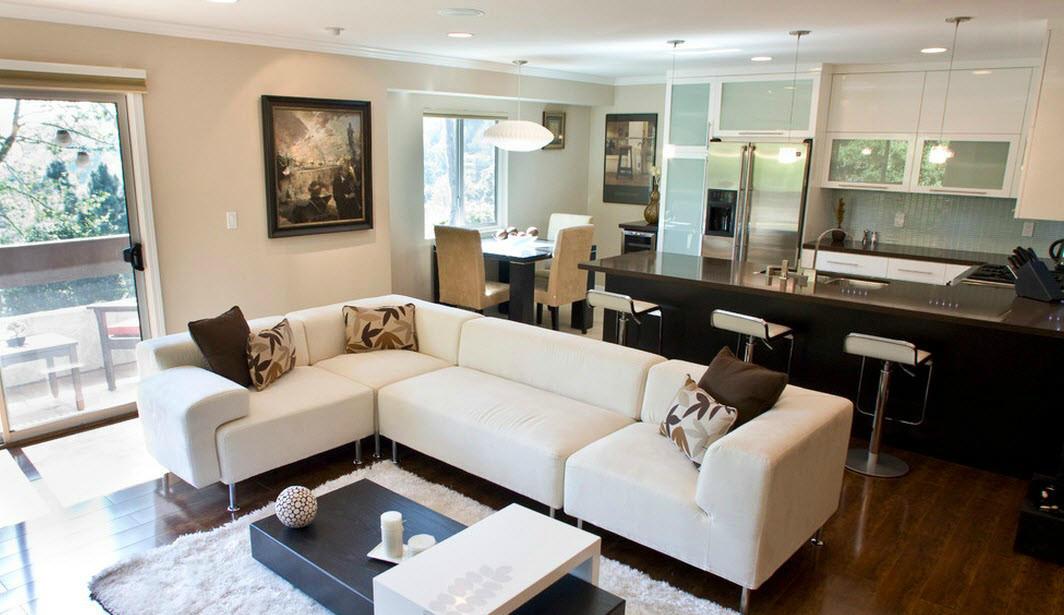 Грамотно подобранный дизайн сделает вашу кухню-гостиную уютной и интересной