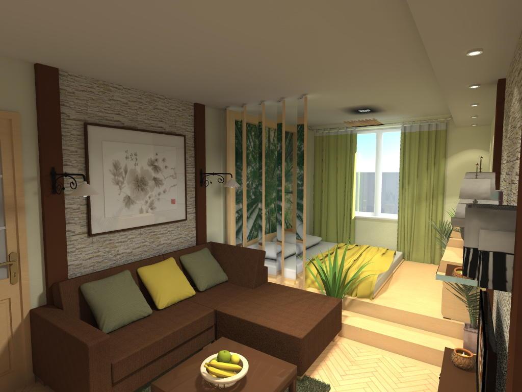 Совмещая гостиную со спальней, лучше делать их в одной цветовой гамме, чтобы они органично дополняли друг друга