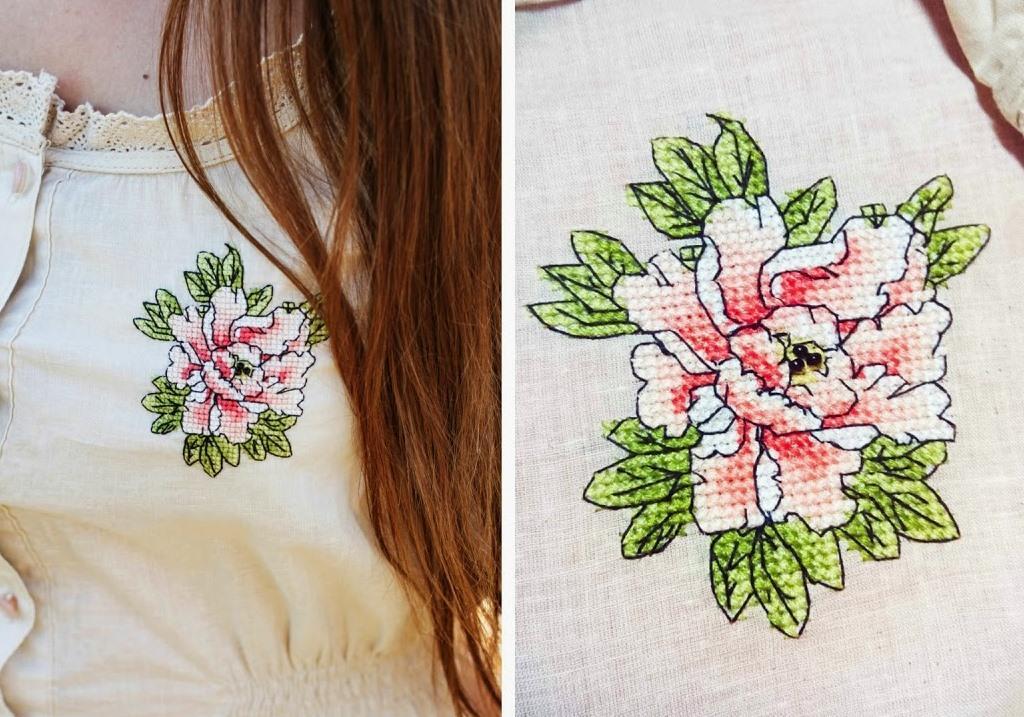 Креативно и необычно украсить блузку можно красивым вышитым цветком