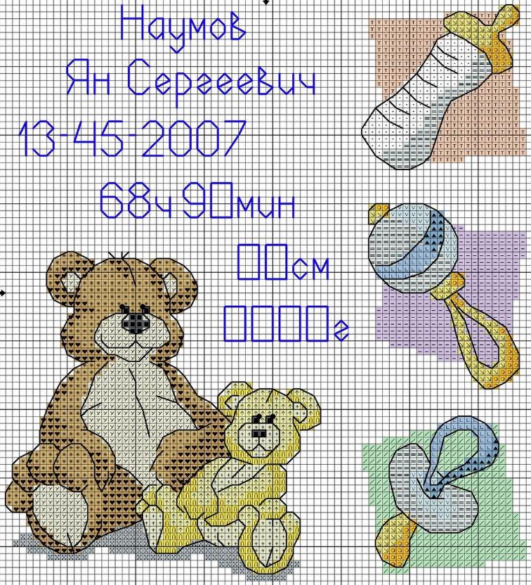 Метрики для новорожденных пользуются большой популярностью среди схем вышивки крестиком