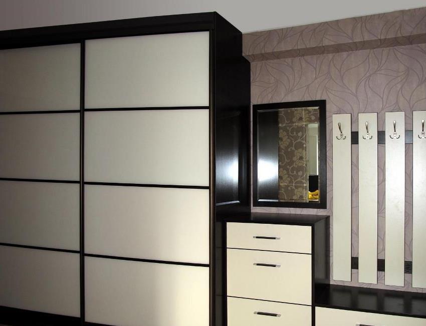 Для просторной прихожей дизайнеры рекомендуют подбирать функциональный шкаф-купе с вешалками