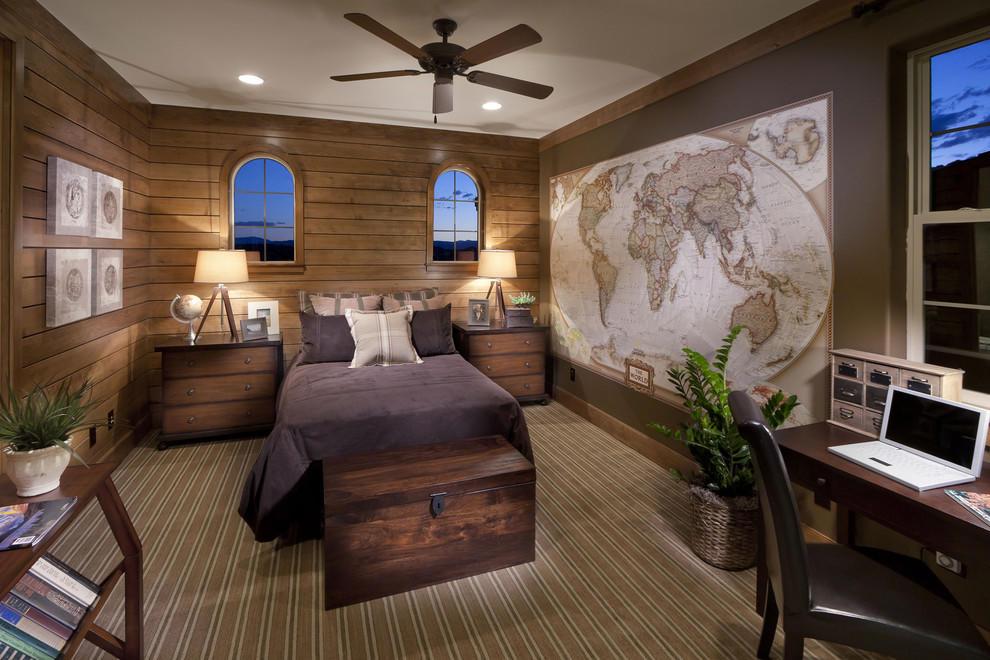 Оригинально украсить мальчиковую спальню можно при помощи необычной стилизации одной стены