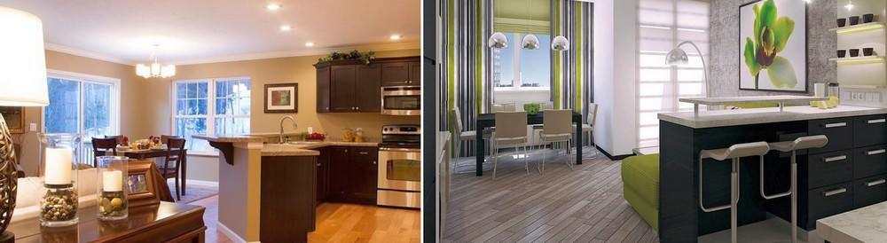 Обеденный стол лучше разместить со стороны кухни и тогда произойдет правильное зонирование пространства студии