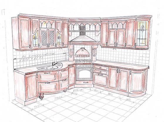 Сделать рисунок угловой кухни несложно, так как обычно у таких кухонь небольшой метраж