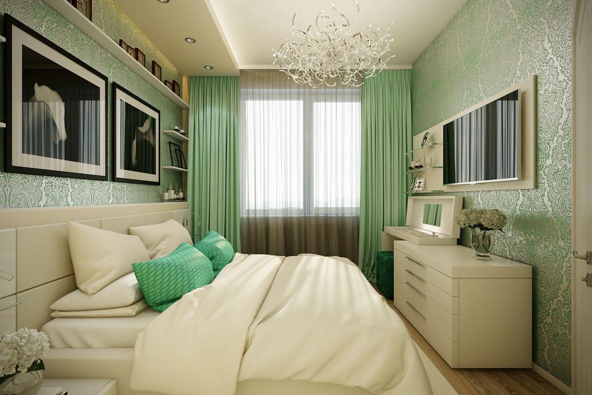 В маленькой спальне лучше всего повесить телевизор на стене напротив кровати