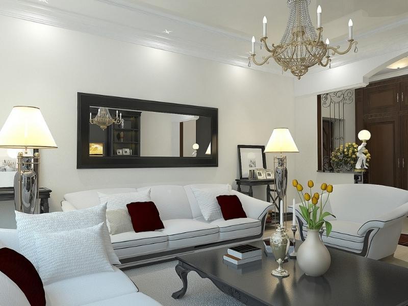 Зеркала в интерьере гостиной для расширения пространства: фото стен большого зала, дизайн и оформление интерьера