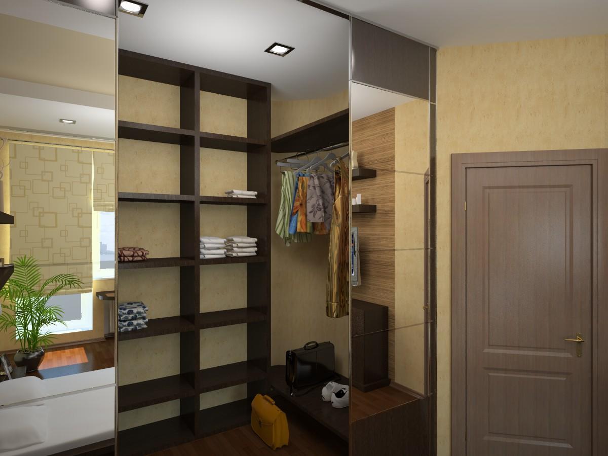 Скрыть гардеробную в коридоре можно с помощью раздвижных дверей, оснащенных зеркалами