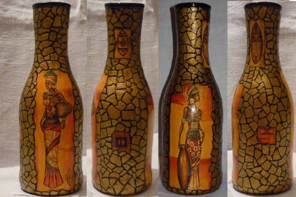 Бутылка с декором в стиле африканского декупажа сможет украсить любой интерьер
