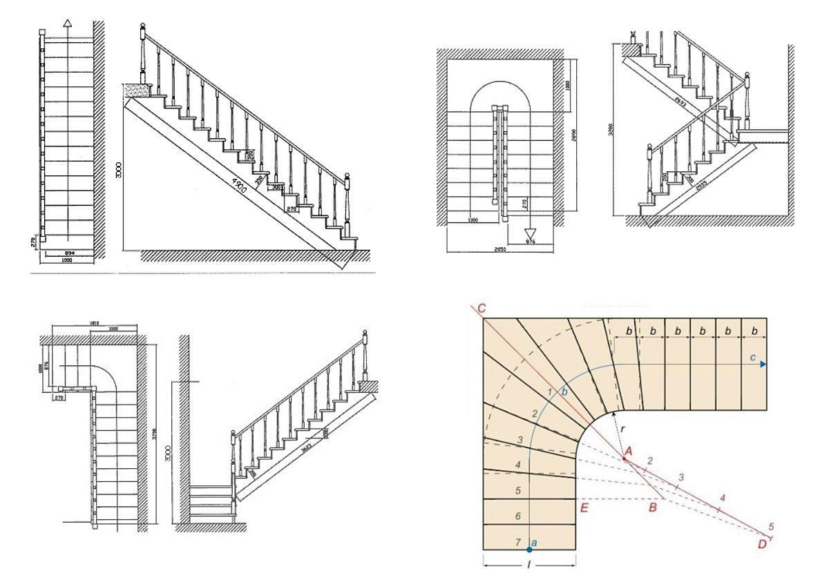 Без чертежа выполнить построение лестницы не возможно, поскольку требуется знать все размеры конструкции: угол наклона, ширину, высоту изделия и количество ступеней