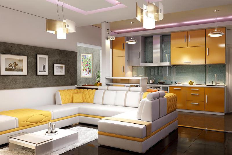 Для людей общительных такая кухня-гостиная будет только в радость, ведь можно свободно заниматься двумя делами сразу - готовить и общаться с гостями и домочадцами
