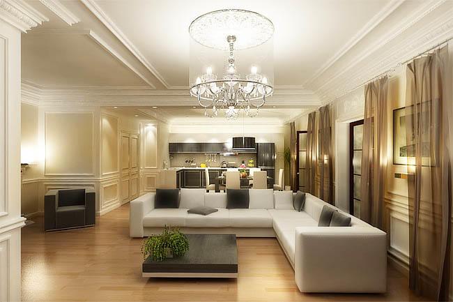 Большой диван в кухне-гостиной будет очень кстати, ведь очень часто гости приходят, а хозяйка еще не успела приготовить пищу