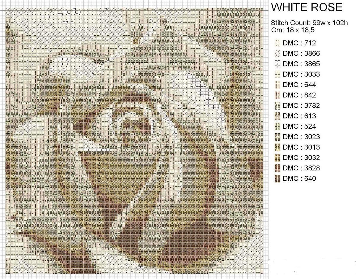Вышитая белая роза, вставленная в рамку, отлично впишется в любой интерьер