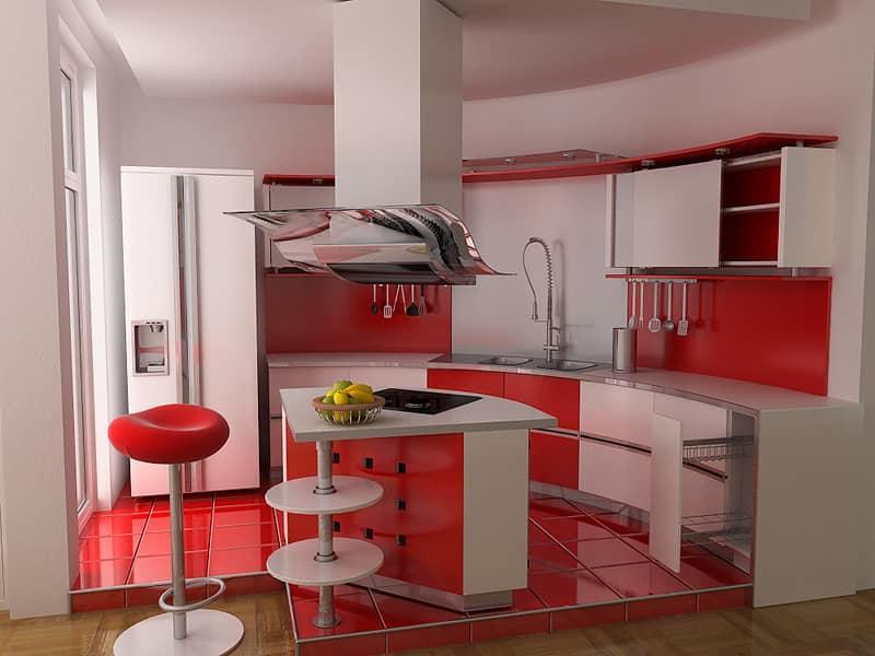 Кухня в красно-белых тонах порадует вас своей оригинальностью, а также зарядит энергией на весь день