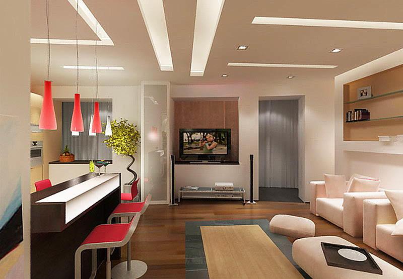 Навесные гипсокартонные потолки бывают многоуровневыми, двухуровневыми и одноуровневыми