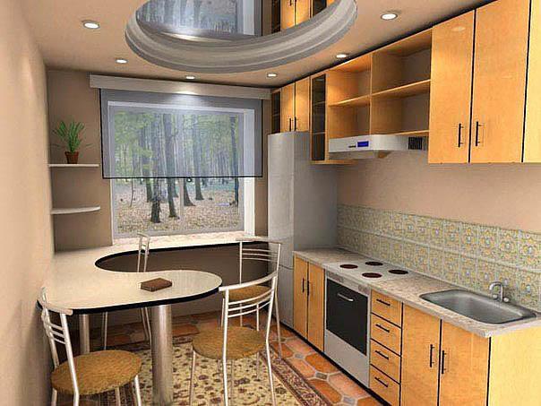 в маленькой кухне наиболее целесообразно будет использовании столешницы-подоконника, перетекающей в барную стойку