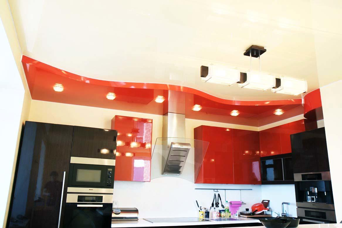 Натяжные потолки на кухню с газовой плитой