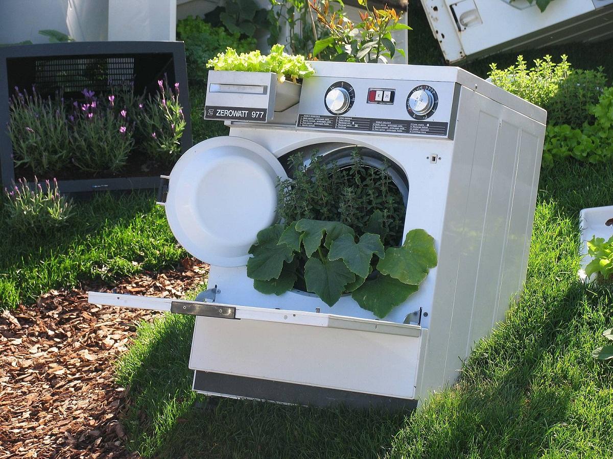 В старой стиральной машине можно выращивать рассаду