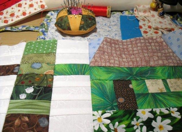 Пэчворк или лоскутное шитье включает стандартный набор инструментов и материалов