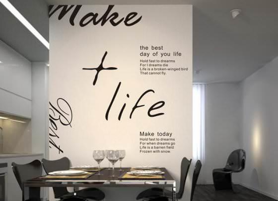 Надписи на стенах кухни сегодня приобретают все большую популярность