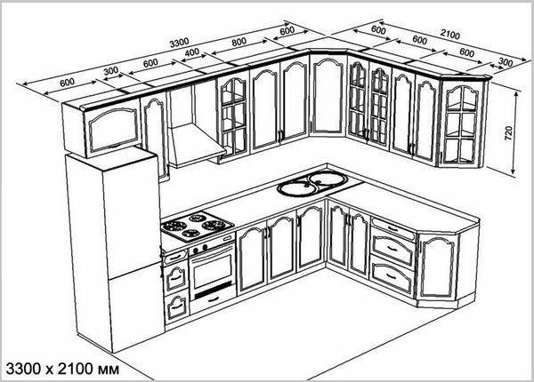 Для кухни важно составить чертеж с правильными размерами