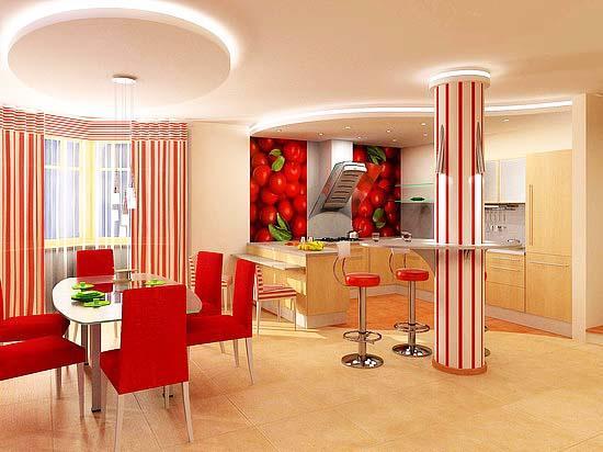 Потолок в кухне, совмещенной с гостиной, должен подчеркивать простор помещений