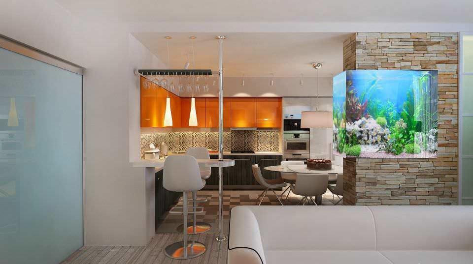 Барная стойка является самым распространенным и наиболее удачным решением при совмещении кухни и гостиной в небольшой квартире