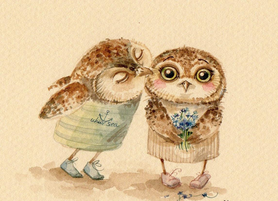 Декупаж с двумя влюбленными совами является отличным подарком на 8 марта
