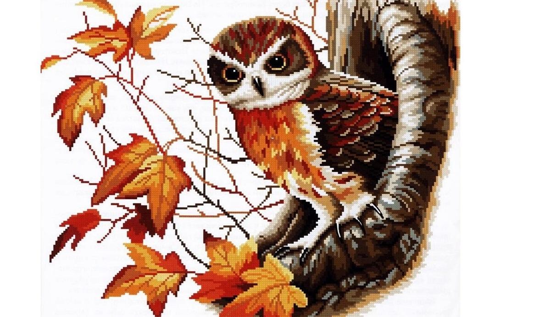 Вышитая крестом сказочная сова может стать прекрасным подарком для дорогих и любимых людей