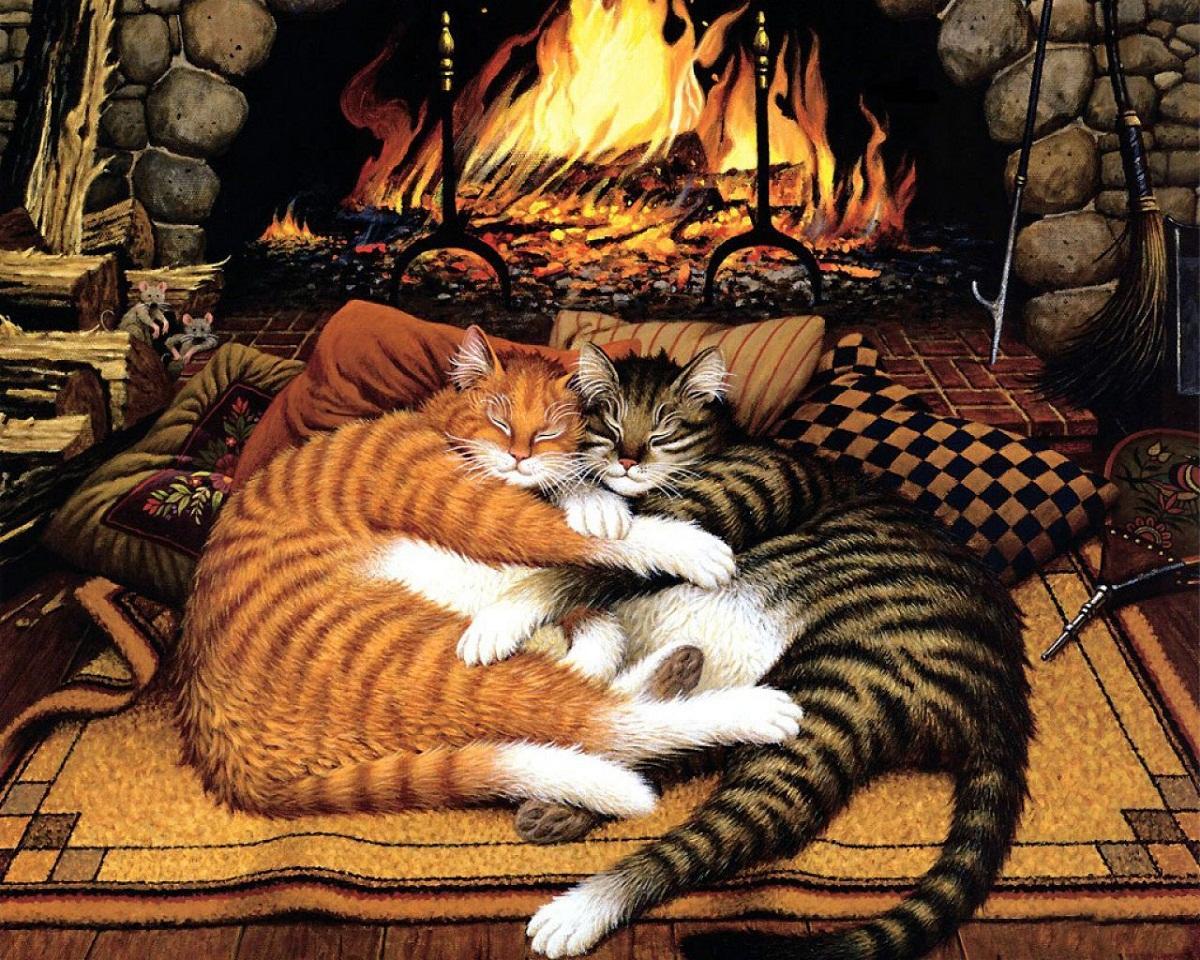 Декупаж с изображением котов возле камина способен придать помещению уюта и комфорта