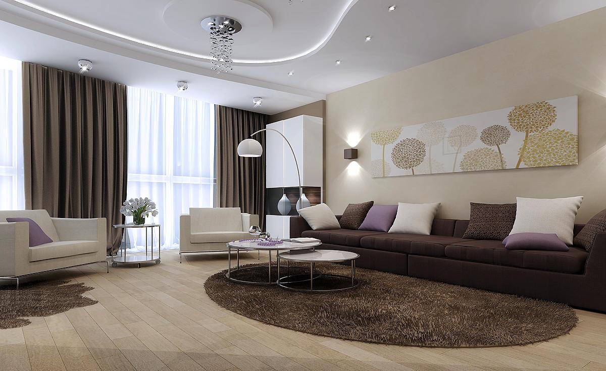 Перед тем как начинать ремонт зала своими руками, следует ознакомиться с возможными вариантами оформления комнаты, которые можно подыскать в интернете