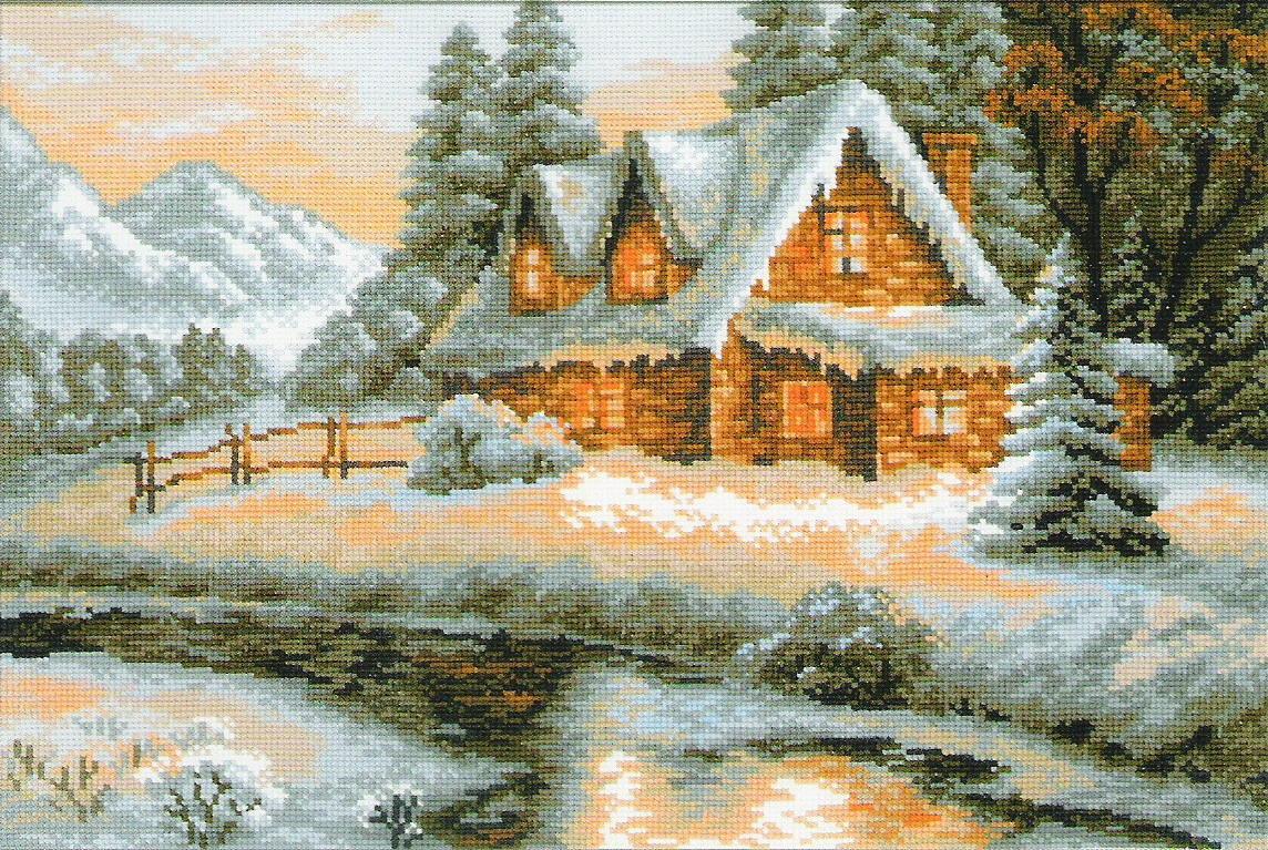 Вышивка с зимним пейзажем способна придать интерьеру уюта и комфорта