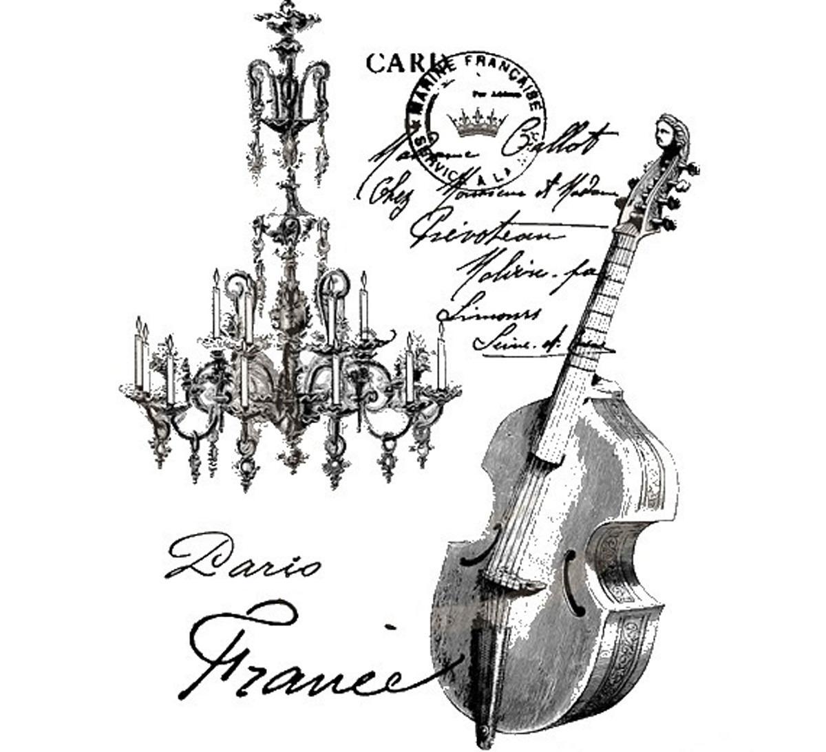 Декупаж с изображением музыкального инструмента является отличным подарком для любителей музыки