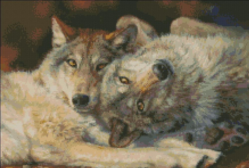 Картину с вышитой парой волков отлично подойдет семейной паре, где царит любовь и взаимопонимание