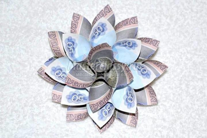 Цветы для денежного дерева выполняются из сувенирных купюр, которые внешне очень похожи на настоящие деньги