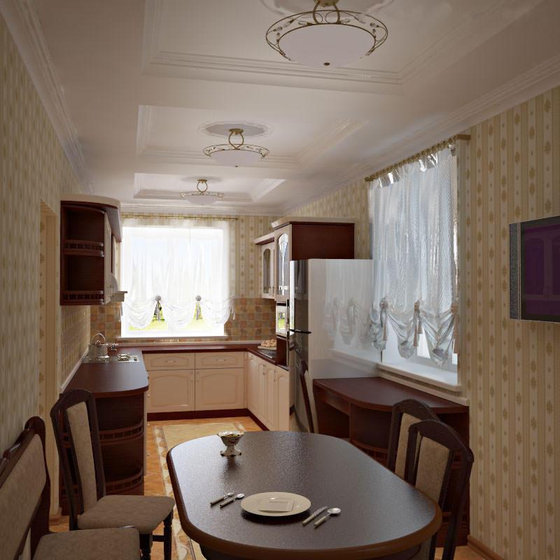 Дизайнеры рекомендуют использовать комбинации из небольших светильников на потолке узкой кухни