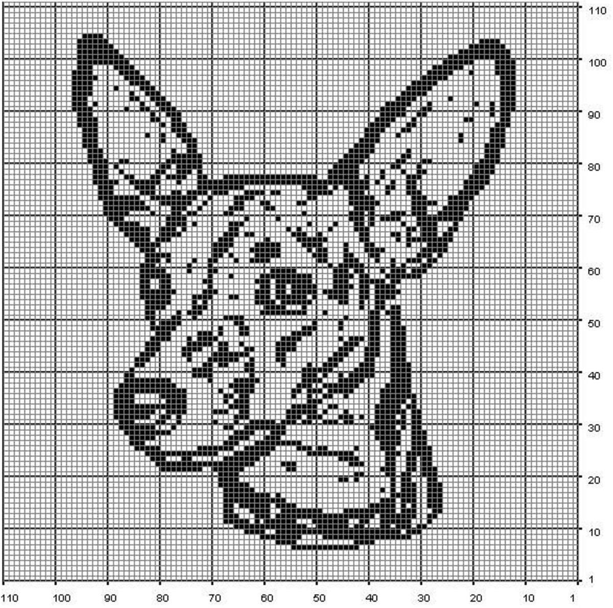 С помощью черно-белой схемы можно вышить изображение домашнего животного и вставить его в красивую рамку