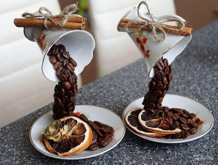 Топиарий из кофейных зерен своими руками: фото мастер класс, как сделать летящую чашку, видео, сердце