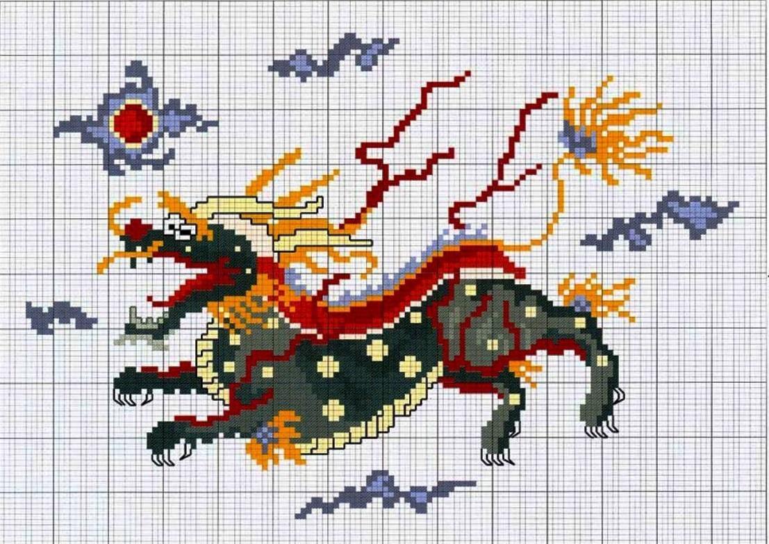 Схема китайской вышивки крестом довольно интересна и привлекает тем, что сочетает в себе различные оттенки
