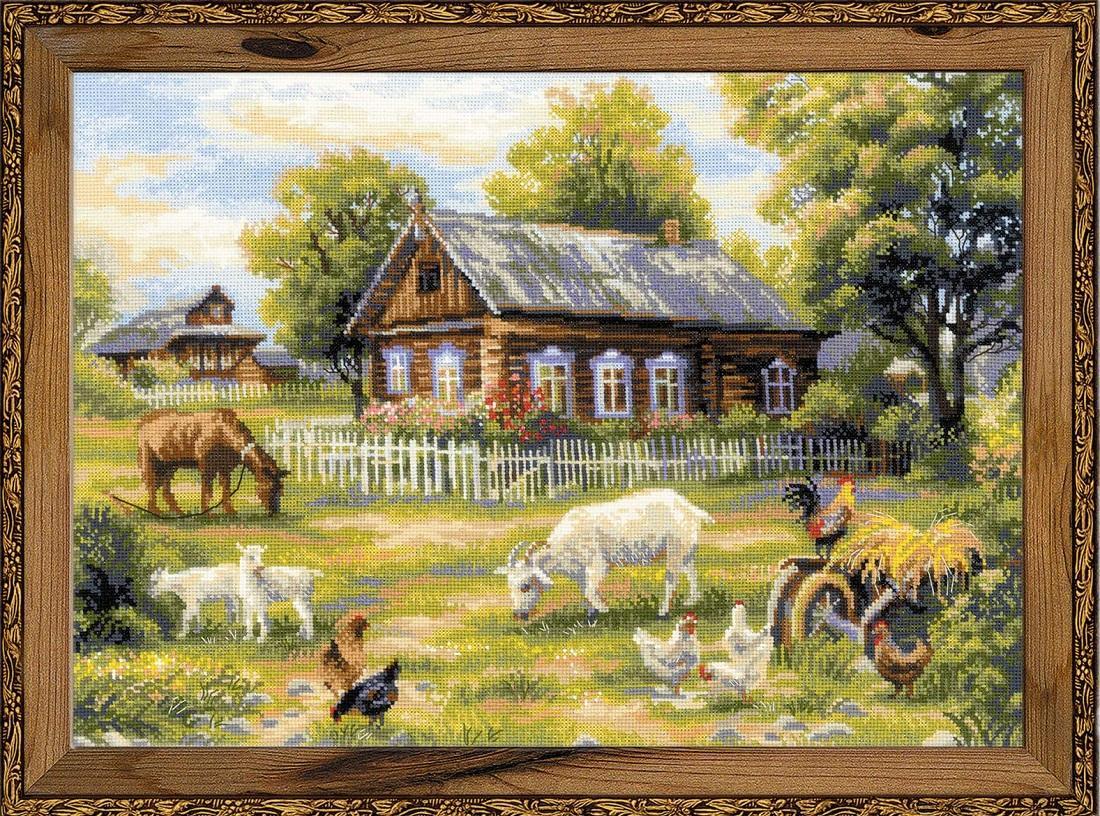 Вышивка с изображением деревенского пейзажа хорошо впишется в интерьер, сделанный в природном стиле