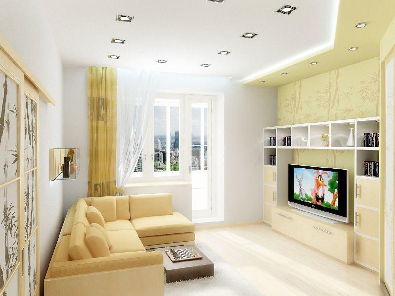 Для небольшой гостиной необходимо выбирать обои и мебель светлых оттенков